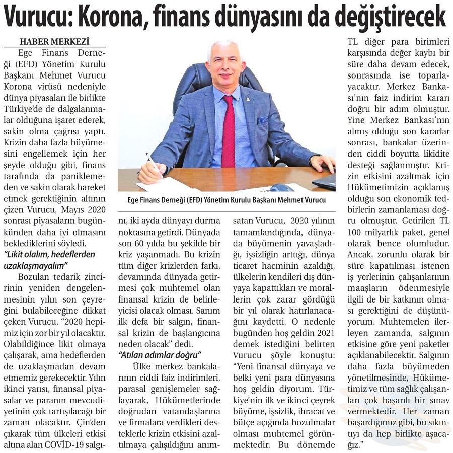 VURUCU: KORONA, FINANS DÜNYASINI DA DEĞİŞTİRECEK - Ticaret Gazetesi (İzmir)