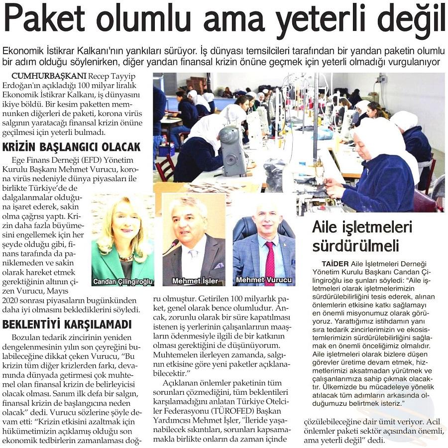 PAKET OLUMLU AMA YETERLİ DEĞİL - İzmir Dokuz Eylül